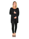 Knitted Maternity Jumper With Side Zipper Detail - Black - Knitted Maternity Jumper With Side Zipper Detail - Black