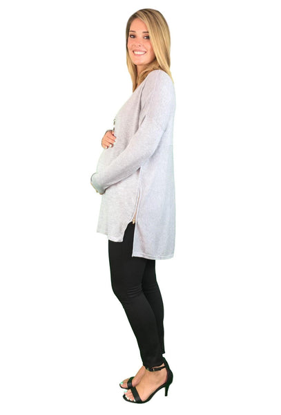 Maternity Jumper With Side Zipper Detail - Grey or Black