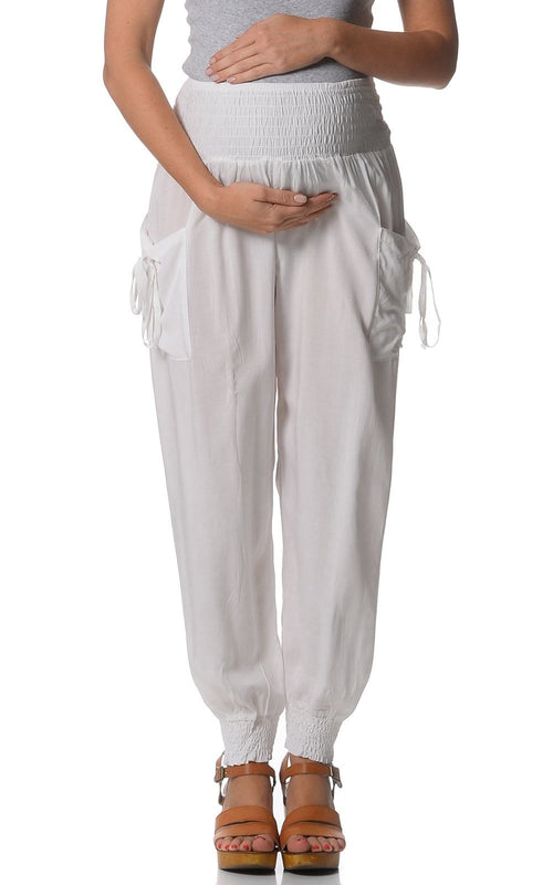 Maternity Beach Harem Pants - White