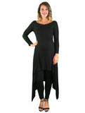 Day To Night Hi-Lo Maternity Tunic - Black - Day To Night Hi-Lo Maternity Tunic - Black