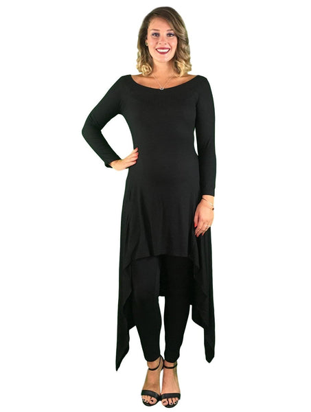 Day To Night Hi-Lo Maternity Tunic - Black