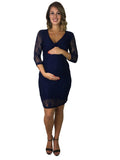 Lace Maternity & Nursing Dress - Blue - Lace Maternity & Nursing Dress - Blue