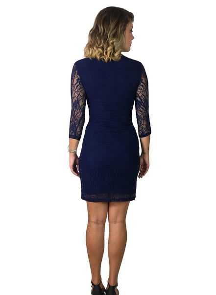 Lace Maternity & Nursing Dress - Blue