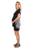 Tribal Print Maternity Tee - Black & White - Tribal Print Maternity Tee - Black & White