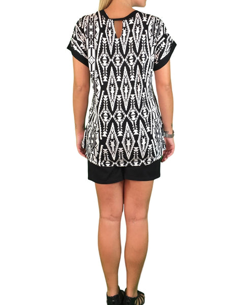 Tribal Print Maternity Tee - Black & White