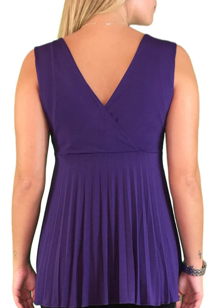 Dressy Pleated Maternity & Nursing Top - Purple