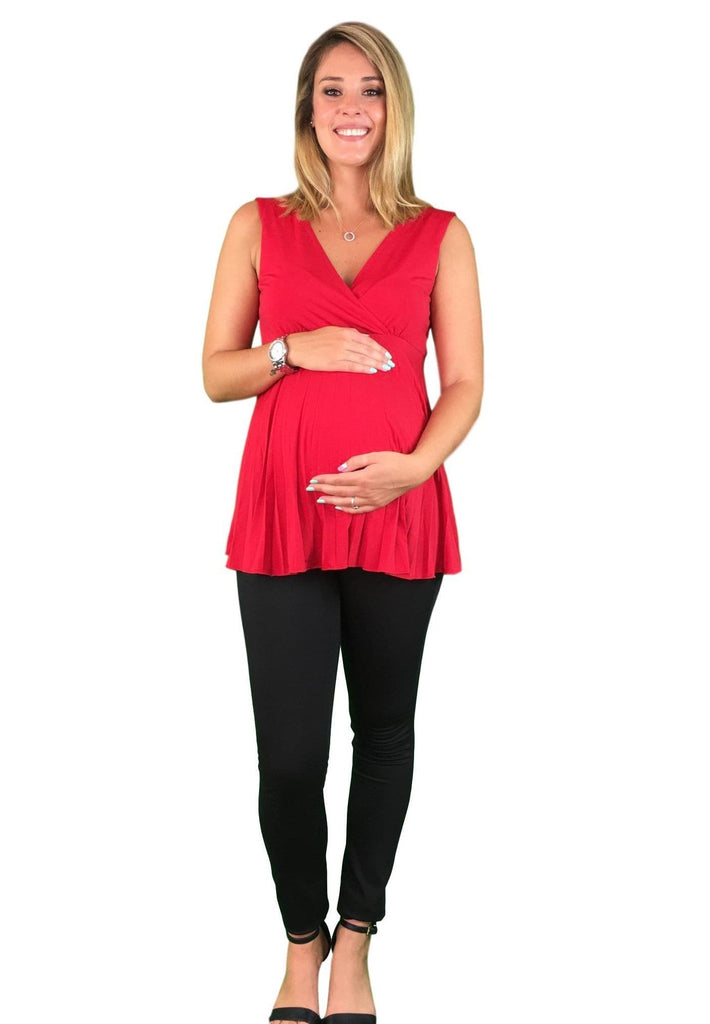 Dressy Pleated Maternity & Nursing Top - Red -
