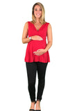 Dressy Pleated Maternity & Nursing Top - Red - maternity top