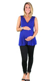 Dressy Pleated Maternity & Nursing Top - Blue