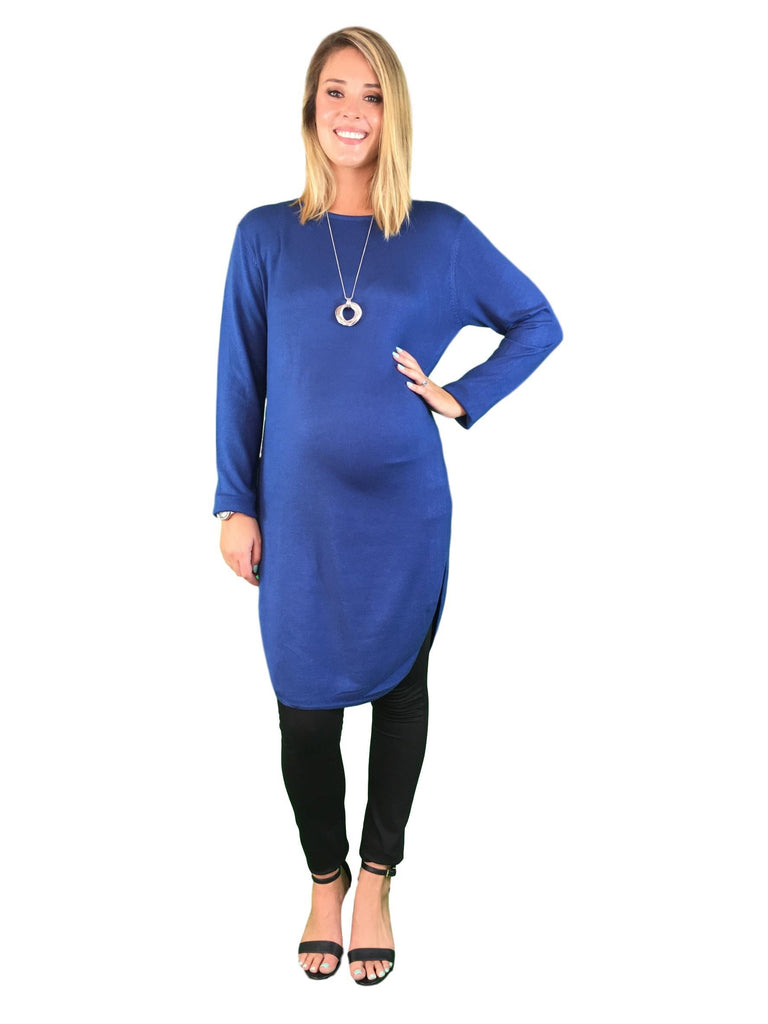 Extra Long Maternity Jumper - Blue -