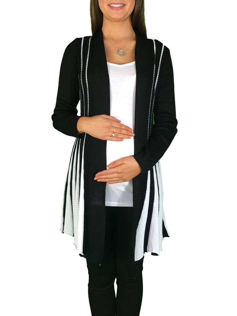 Knitted Maternity Waterfall Cardigan - Black & White -