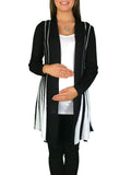 Knitted Maternity Waterfall Cardigan - Black & White - Knitted Maternity Waterfall Cardigan - Black & White