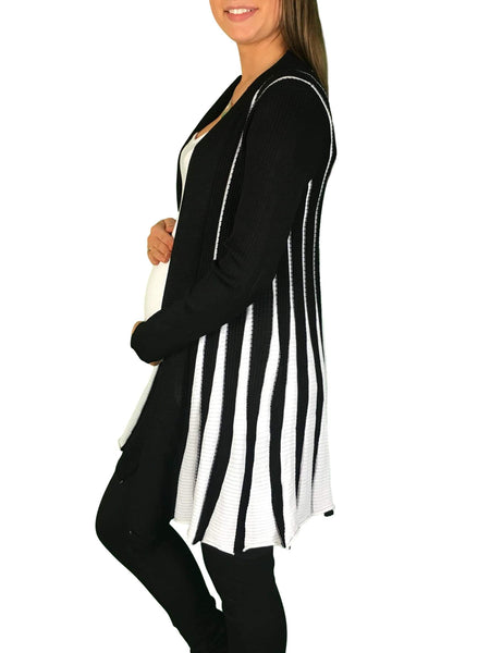 Knitted Maternity Waterfall Cardigan - Black & White