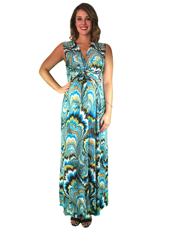 Maternity & Nursing Maxi Dress - Green Print