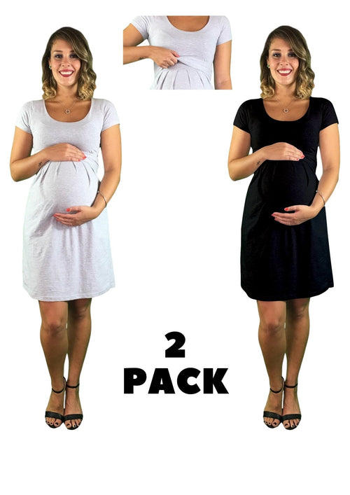 2 x Pack Of Lilly & Me Cotton Maternity & Nursing Dresses - Black & Grey