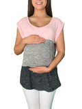 Lilly Maternity Tee - Pink & Grey - Lilly Maternity Tee - Pink & Grey