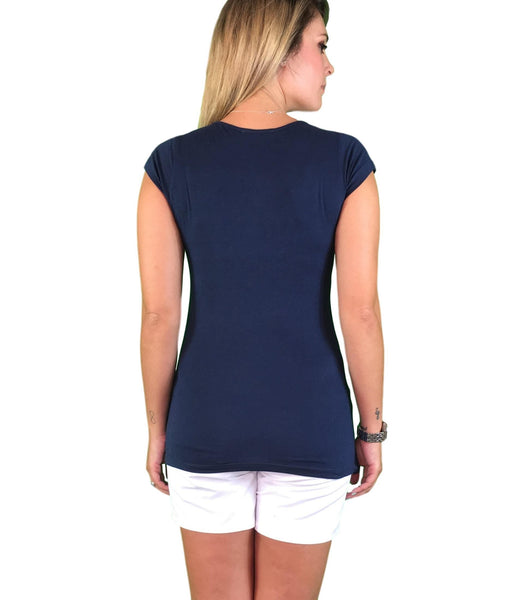 Lilly & Me Cotton Maternity & Nursing Tee - Navy Blue