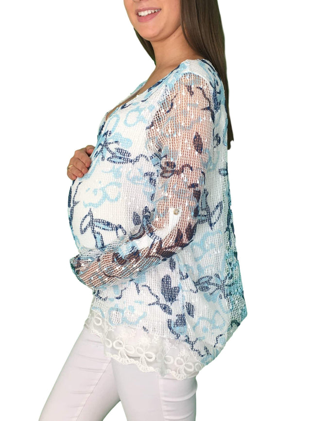 Lace Preppy Maternity Top