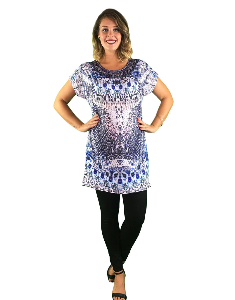 Maternity Kaftan Top - Abstract Print -