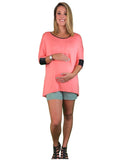 3/4 Sleeve Maternity Tee With Faux Leather Cuffs - Coral - 3/4 Sleeve Maternity Tee With Faux Leather Cuffs - Coral