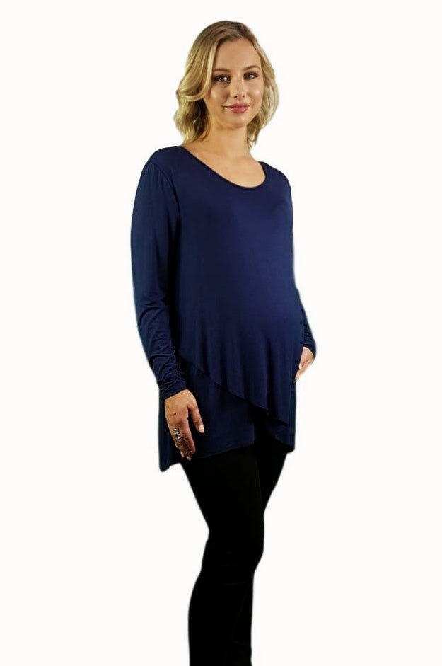 Maternity Crossover Top - Navy Blue -