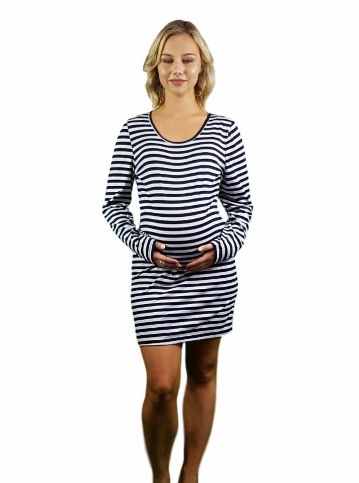 Maternity Night Shirt - Striped -