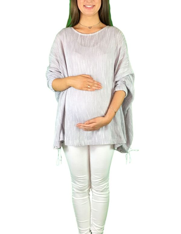 Maternity Slouch Jumper - Light Grey -