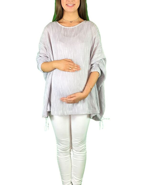 Maternity Slouch Jumper - Light Grey