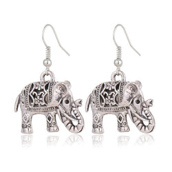 Silver Twosided Detailed Indian Elephant Drop Earrings jXGbxFoI