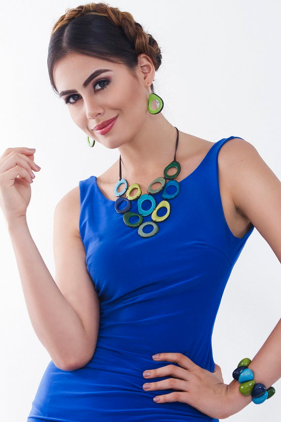 Alegria necklace - Blue and Green Tones