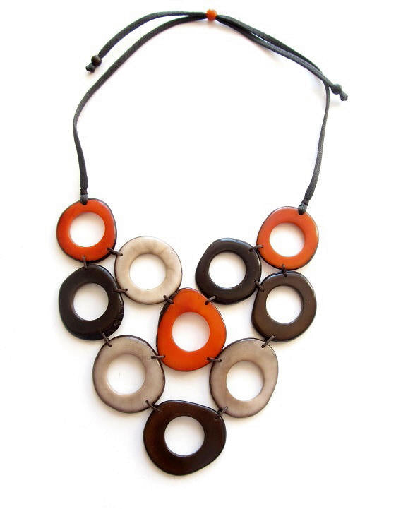 Alegria necklace - Orange & Brown tones