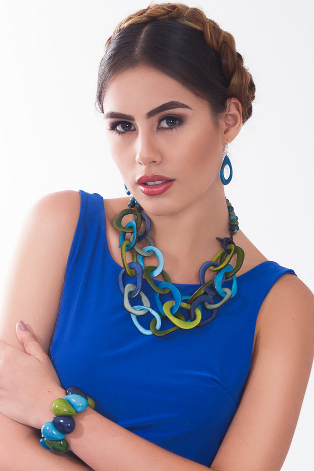 Cadena Necklace - Blue & Green Tones