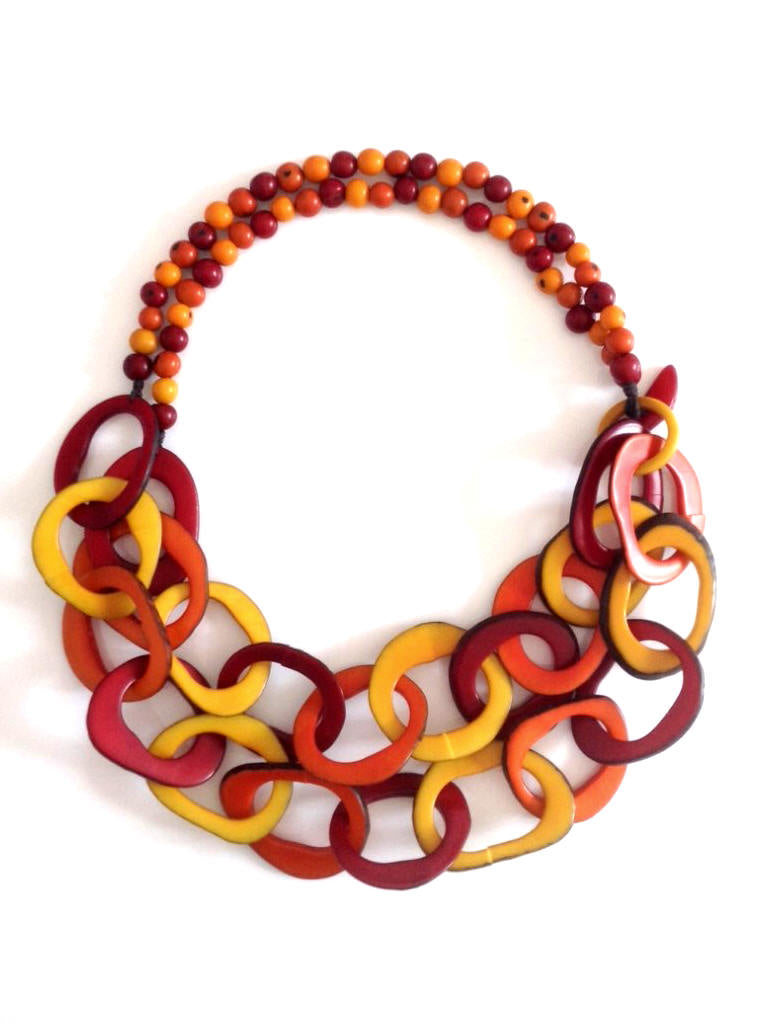 Cadena Necklace - Orange, Red, Mustard