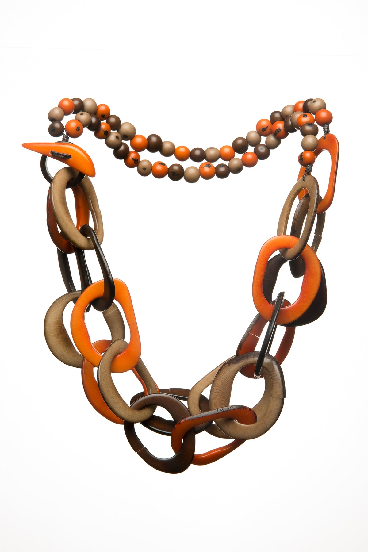 Cadena Necklace - Orange & Brown Tones