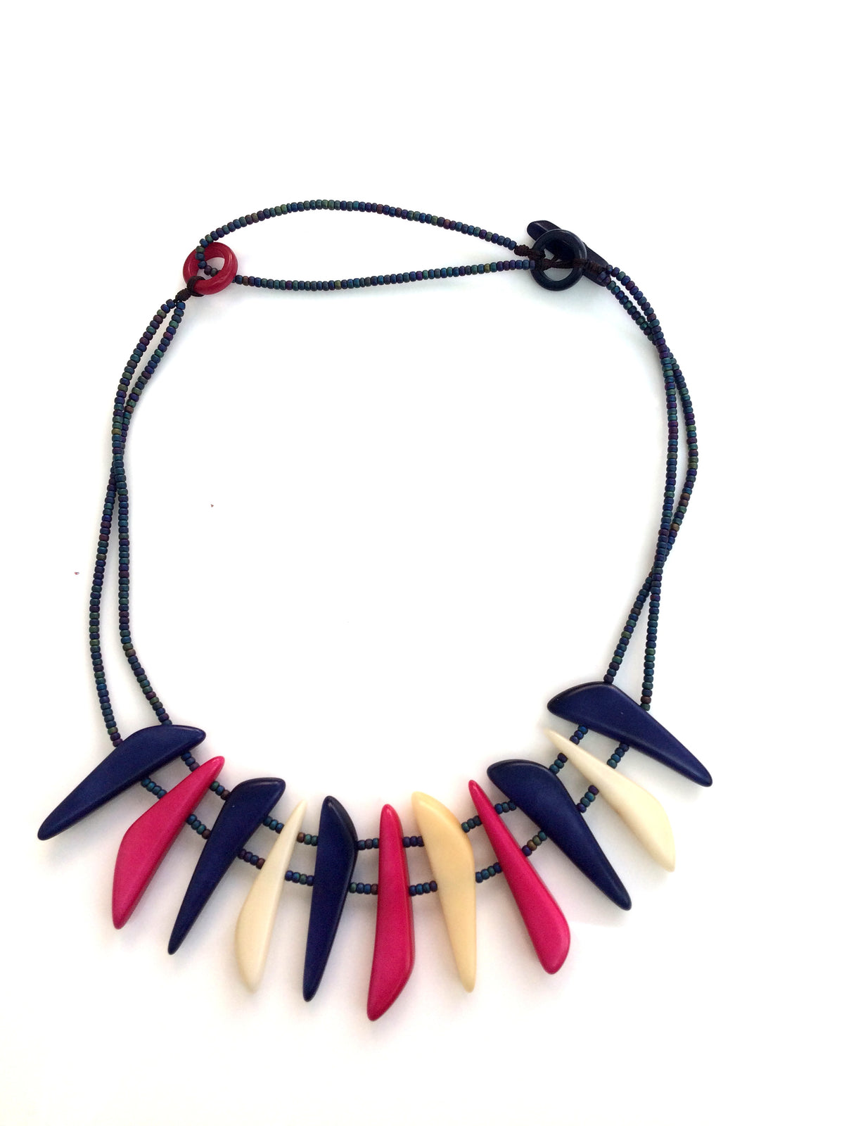 Cielo necklace - Navy, Pink & Ivory Tones