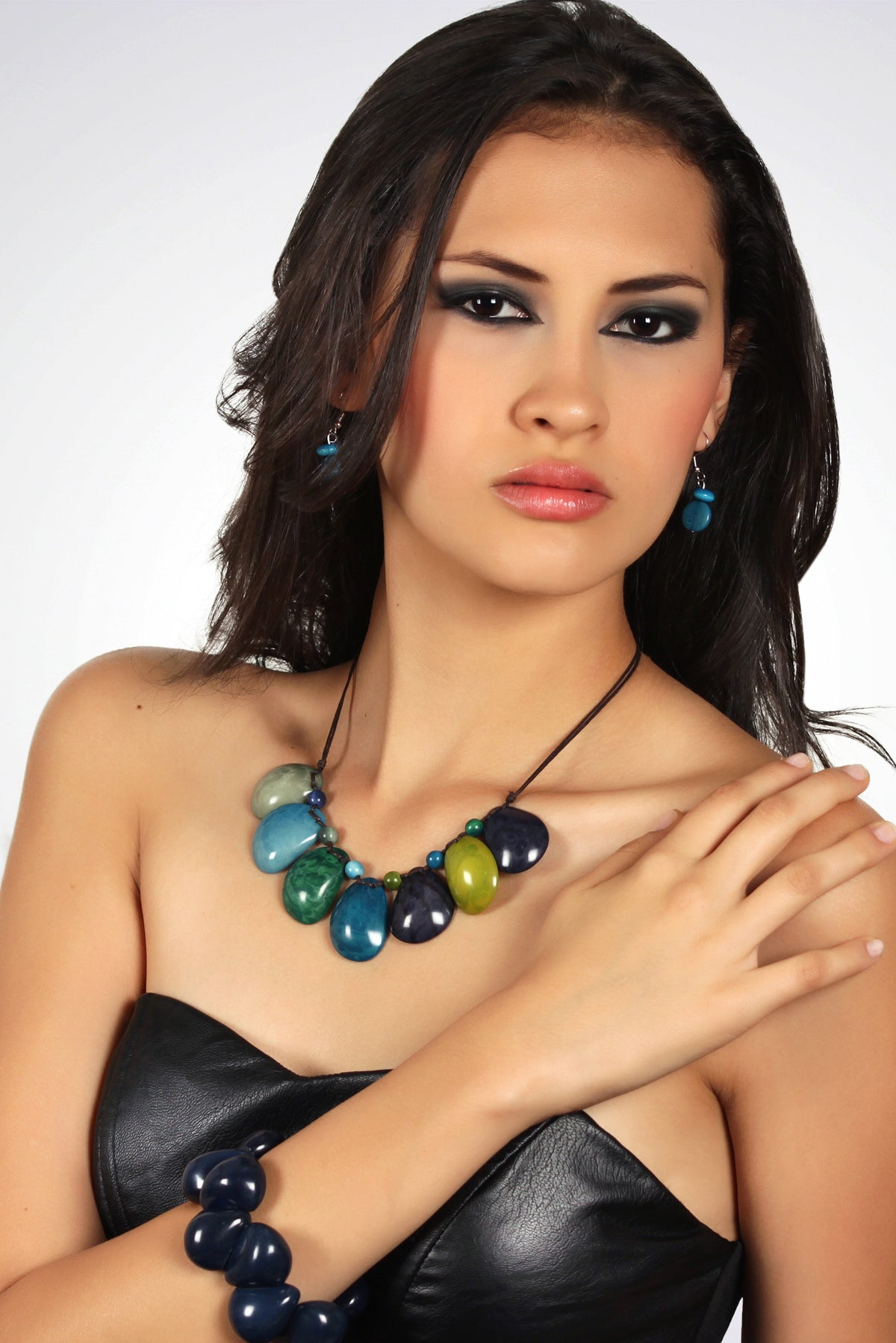 Sirena necklace - Blues & Green Tones