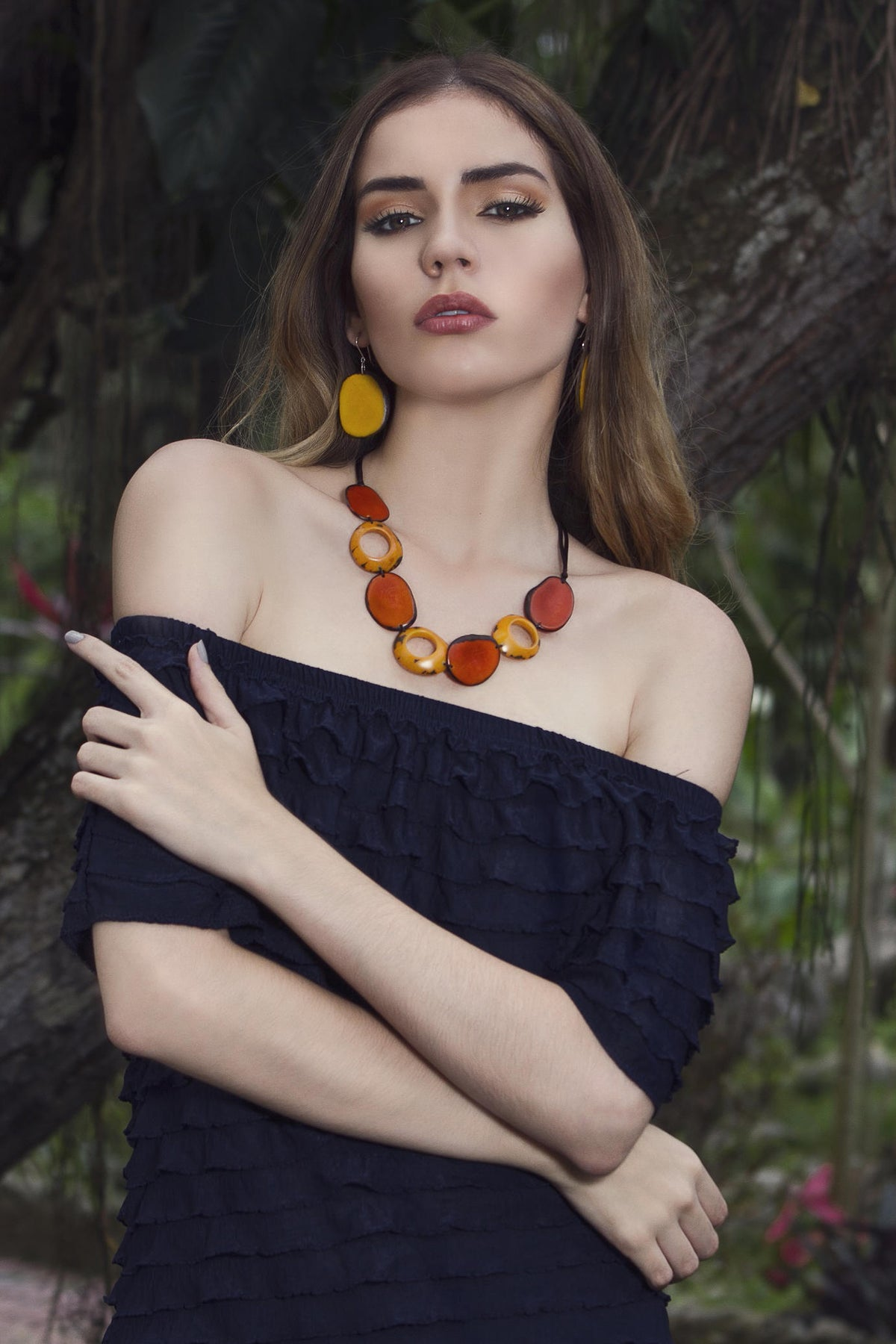 Donutescama Necklace - Orange & Mustard Tones