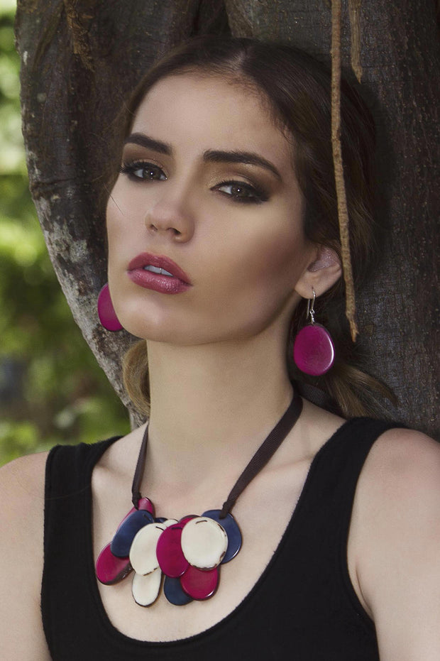 Escama Earrings - Fuchsia/Pink