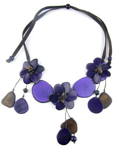 Flora necklace - purple tones