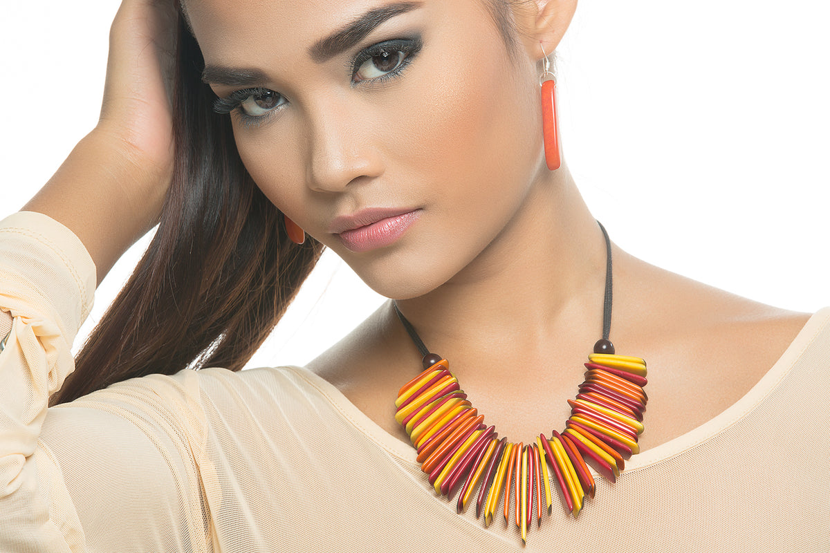 India Necklace - Orange, Red & Yellow Tones