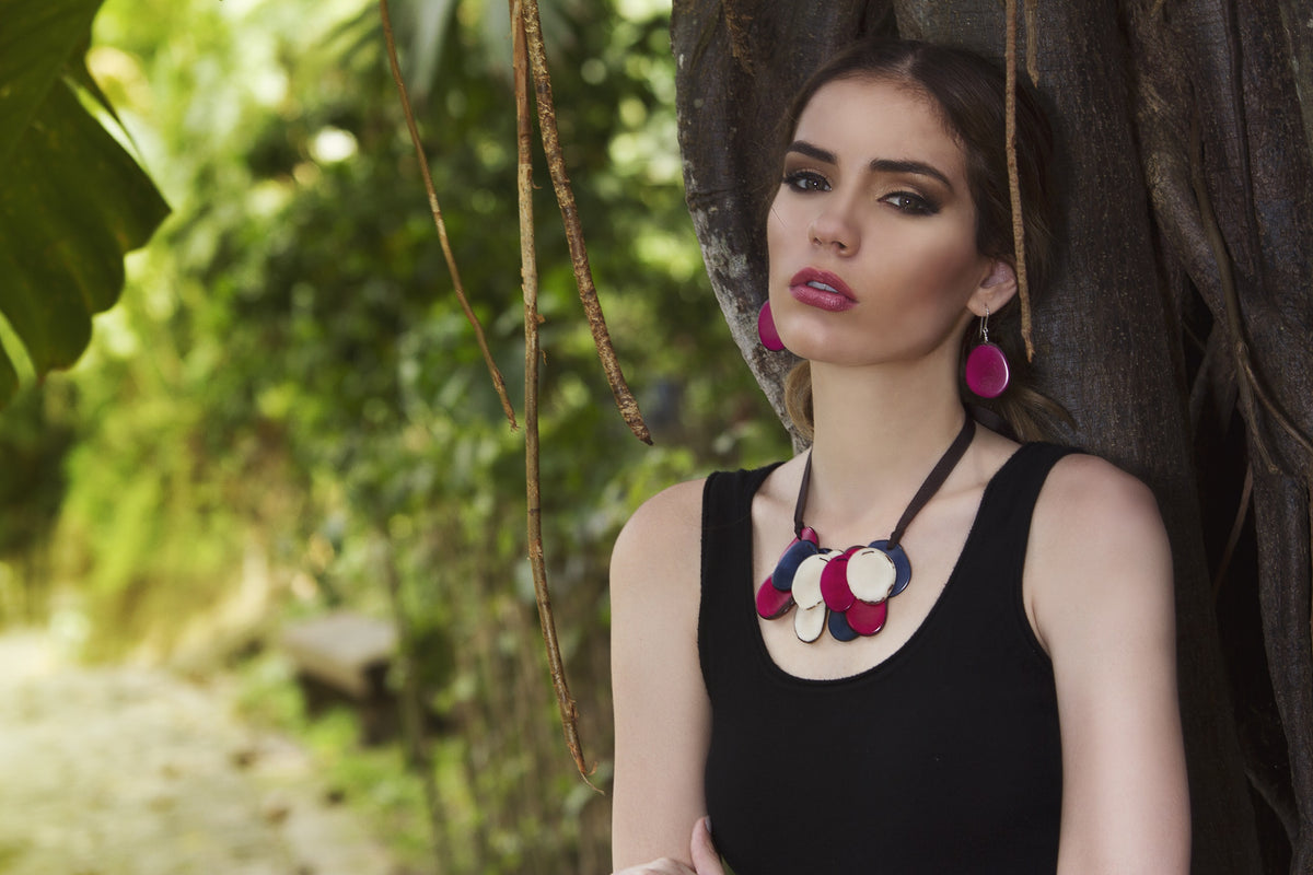 Salma Necklace - Orange/Red/mustard Tones