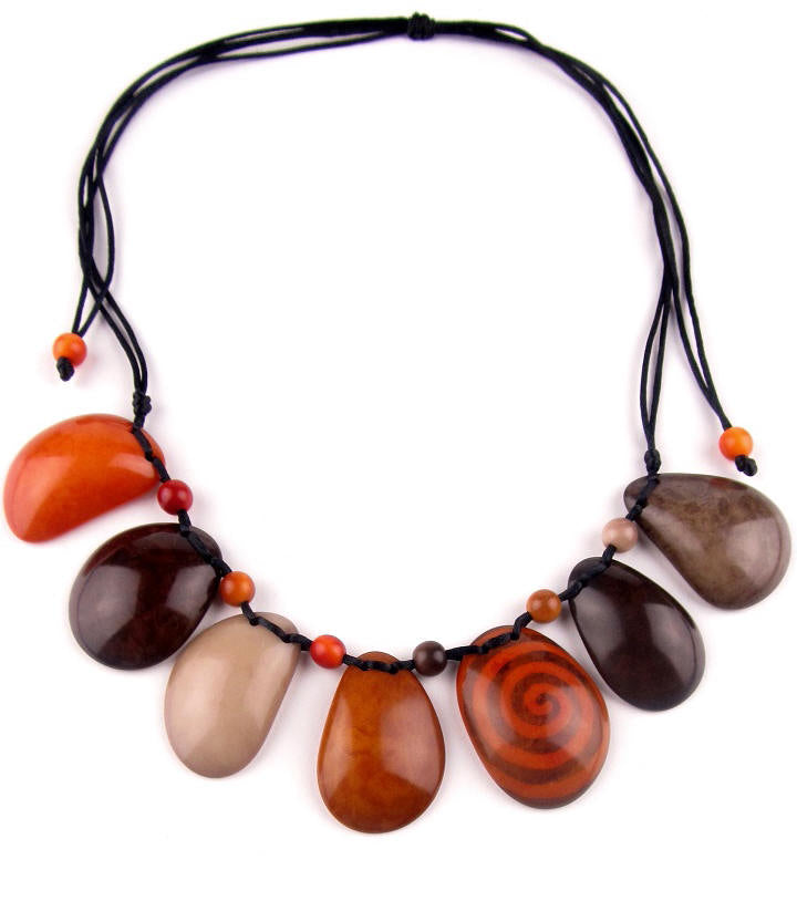 Sirena necklace - Orange & Brown Tones