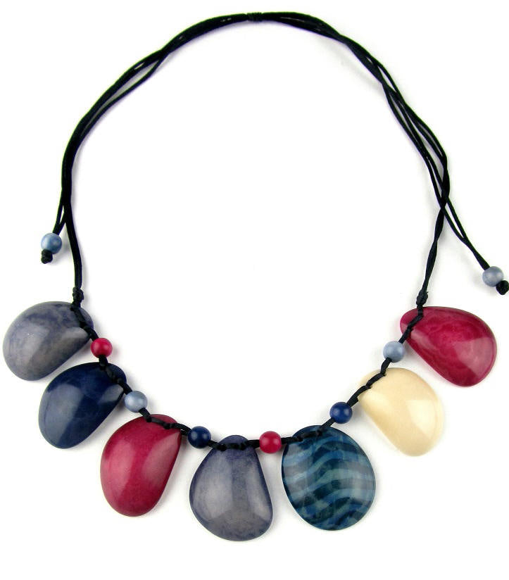 Sirena necklace - Fuchsia, Navy & Ivory tones
