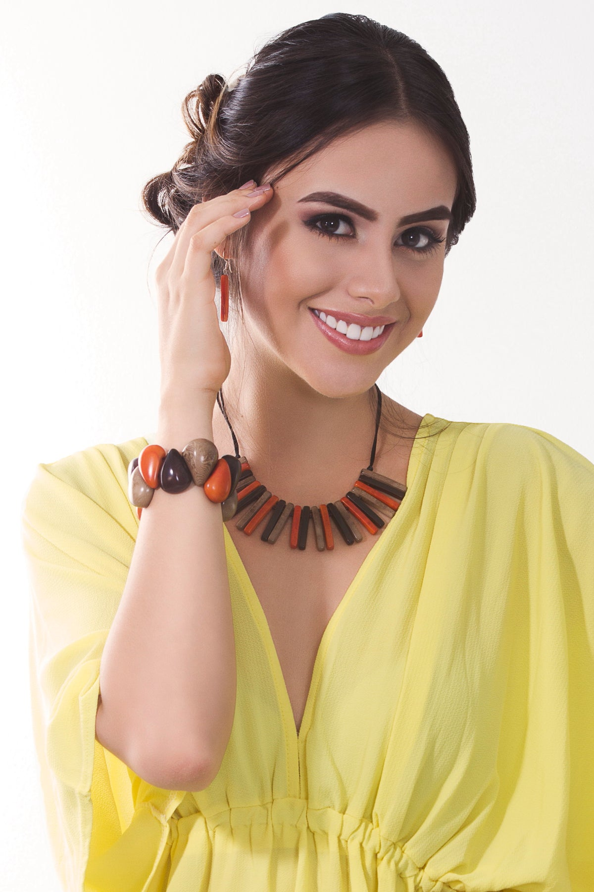 Sofia necklace - Orange & Brown tones