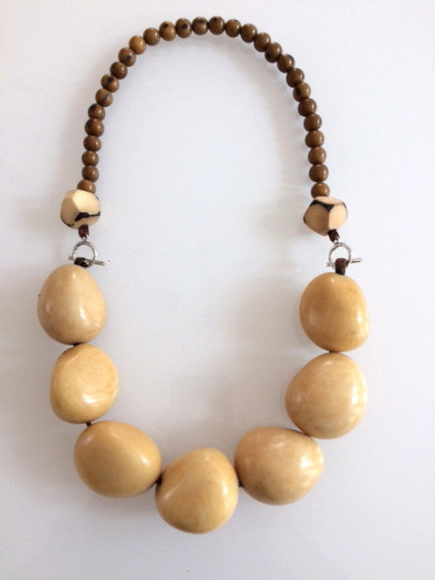 Tagua necklace x 7 - Beige/Cream