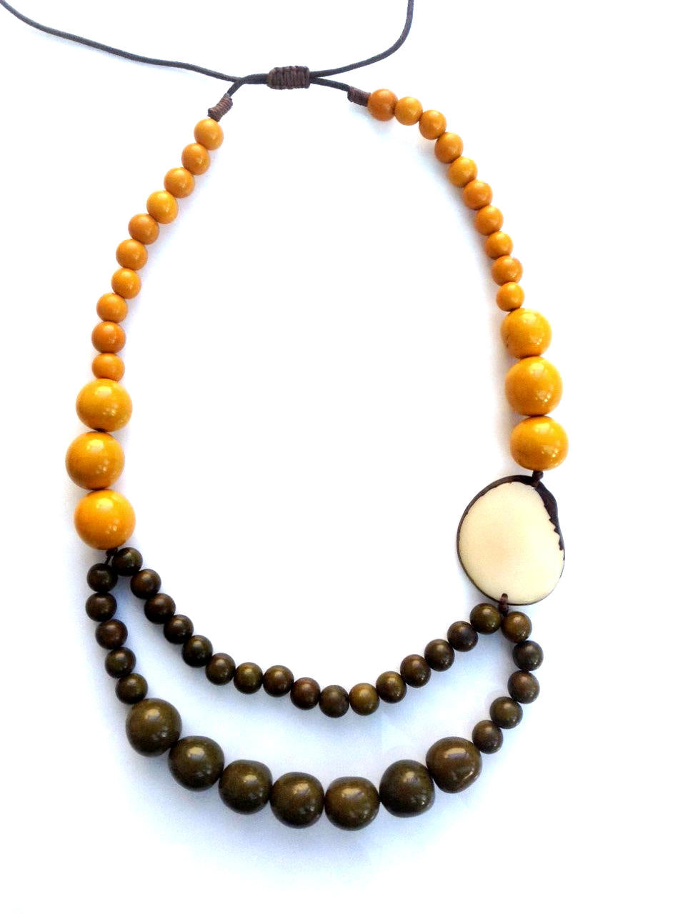 Trilogy necklace - Mustard & Browns tones