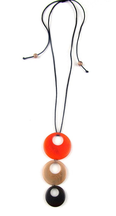 Triluna pendant necklace - Orange & brown tones
