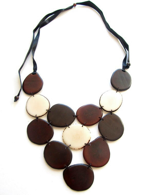 Victoria Necklace - Brown & Ivory Tones