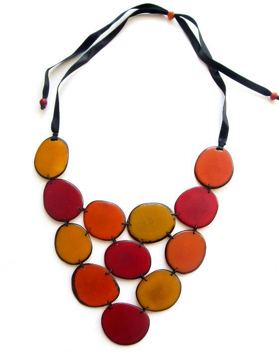 Victoria Necklace - Orange/Red/Mustard Tones