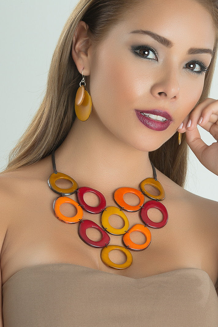 Alegria Necklace - Mustard, Orange & Red Tones